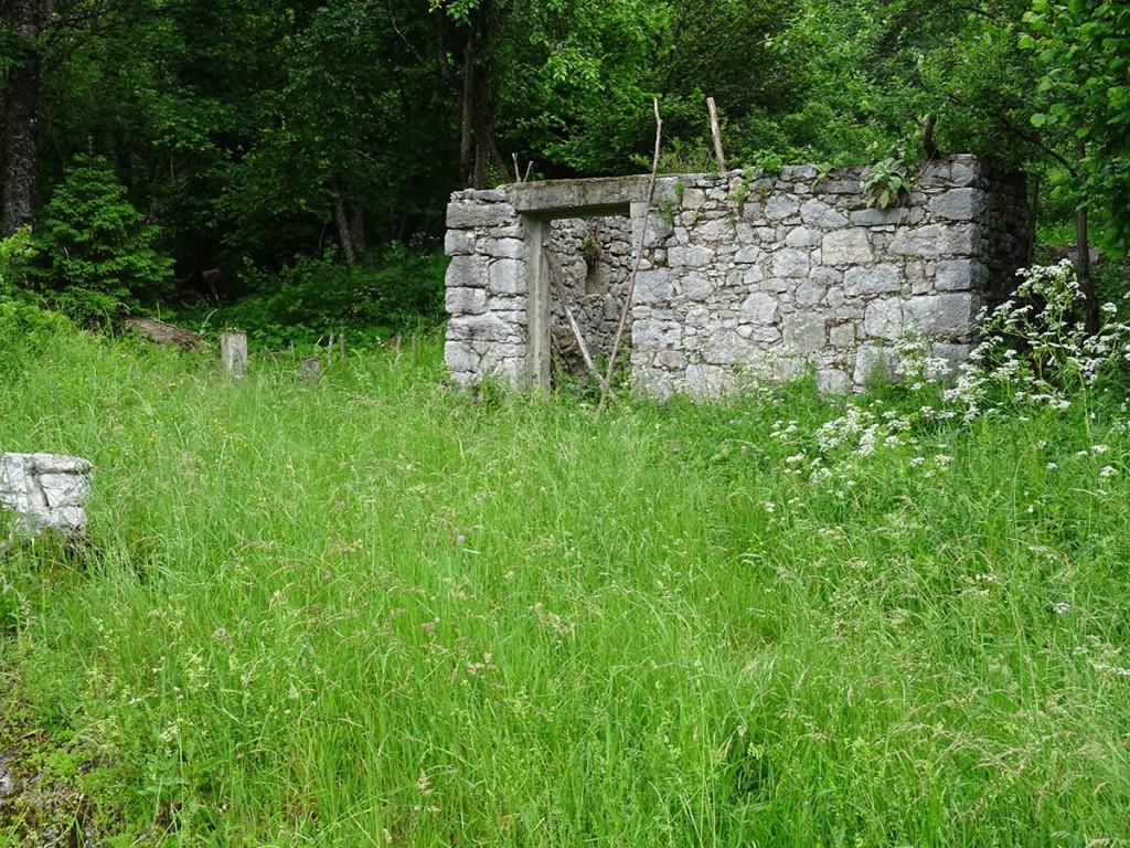 Ruševine osnovne šole v vasi Štalcerji. Berlot Špela, 2018.